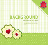 Vector green background with buttons and two flowers with hearts — Stock Vector