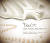 Elegant holiday vector background with white silk and pearls — Stock Vector