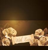 Grunge de vecteur, romantique, vintage fond avec roses — Vecteur