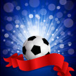 Vector soccer ball on a blue background with a red celebration r — Stock Vector #6273309
