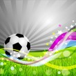 Stock Vector: Vector Soccer Ball background, grass and colorful wave