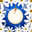 Greeting card with a vector white daisies on a blue background — Stock Vector