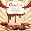 Vector holiday background with chocolate candy and chocolate sta — Imagens vectoriais em stock