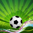 Vector Soccer Ball background, grass and colorful wave — Stock Vector