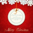 Vector de stock : Vector New Year holiday red background with snowflakes and a gre