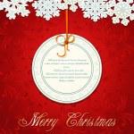 vektör yeni yıl tatil kırmızı arka plan ile kar taneleri ve bir gre — Stok Vektör