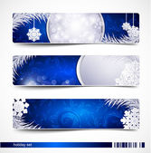 Vector set of Christmas festive banners with snowflakes and silv — Stock Vector