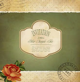 Grunge vintage invitation with a rose and postmarked — Stock Vector