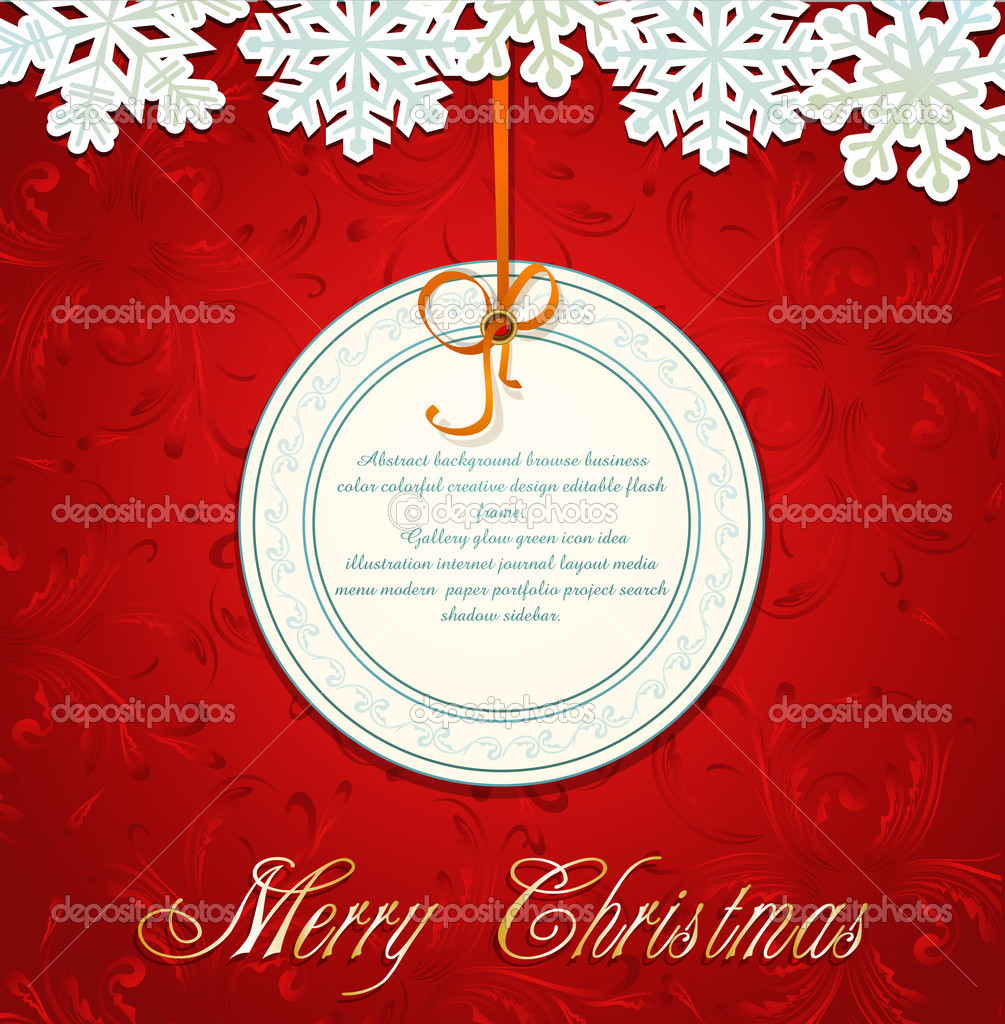 Vector New Year holiday red background with snowflakes and a greeting card — Grafika wektorowa #6468066