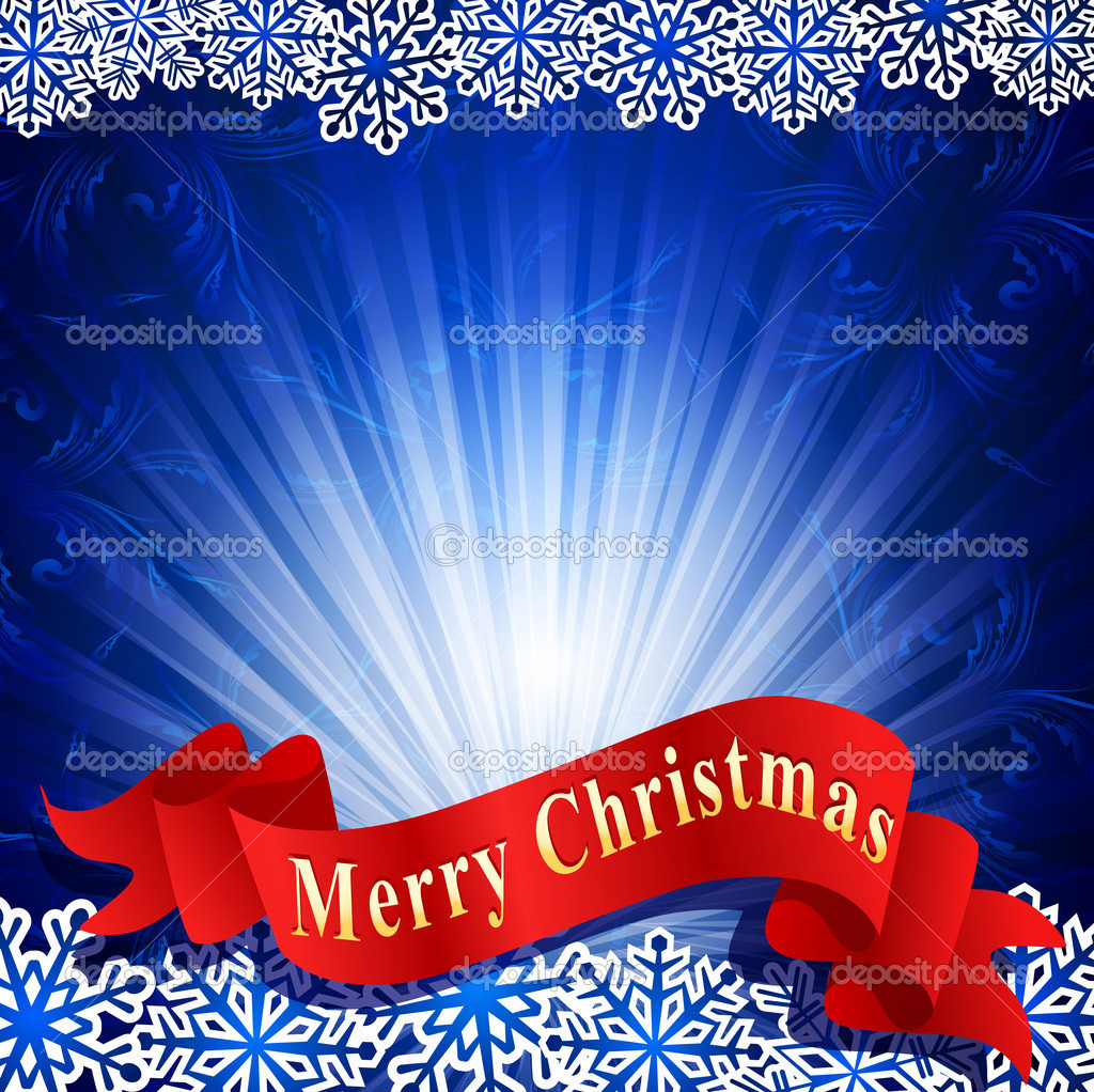 Vector blue festive background with snowflakes and a red ribbon — Imagens vectoriais em stock #6468069