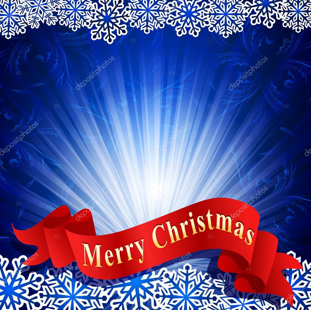 Vector blue festive background with snowflakes and a red ribbon — Stock Vector #6468069