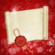 New Year's scroll with the wax seal of Santa on a holiday background — Imagens vectoriais em stock