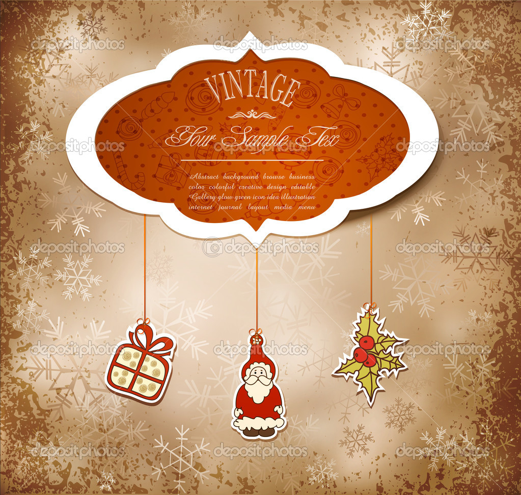 Vintage, grungy New Year, Christmas background — Stock Vector #6550328