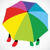 Two girls under umbrella — Stock Vector