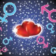 Background with hearts and signs of men and women  — 图库矢量图片