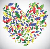 Hjärtat från bladen — Stockvektor