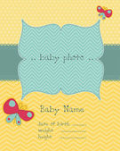 Baby Arrival Card with Photo Frame in vector — Stockvector