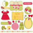 Stock Vector: Design Elements for Baby scrapbook - easy to edit