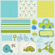 Design elements for baby scrapbook — Vector de stock