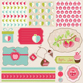 Design Elements for Baby scrapbook with apples - easy to edit — Stock Vector