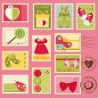 Royalty-Free Stock Vector Image: Baby Girl Postage Stamps