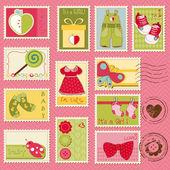 Baby meisje postzegels — Stockvector