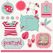 Design Elements for Baby scrapbook - easy to edit — Stock Vector