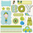 Scrapbook Boy Set - design elements — Vettoriali Stock