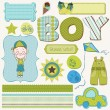 Scrapbook Boy Set - design elements — Stockvektor