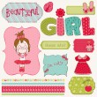 Stock Vector: Scrapbook Girl Set - design elements