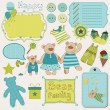 Bear Family Baby Scrap - big set of design elements - Stock Vector