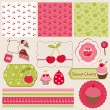 Stock Vector: Cherry Design Elements for scrapbook - easy to edit