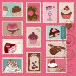 Sweet Cakes and Desserts Postage Stamps — Stock Vector #5562313