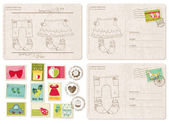Set of Baby Arrival Postcards with stamps — Stock Vector