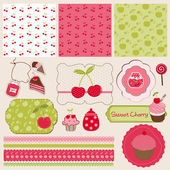 Cherry Design Elements for scrapbook - easy to edit — Stock Vector