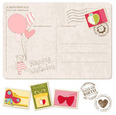 Baby Girl Arrival Postcard with set of stamps — Stock Vector