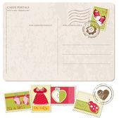 Postal de chegada bebê menina com conjunto de selos — Vetorial Stock