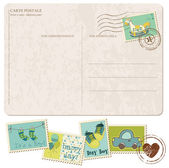 Baby Boy Arrival Postcard with set of stamps — Vecteur