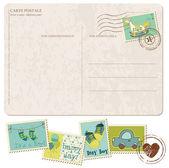 Postal de chegada bebê menino com conjunto de selos — Vetorial Stock