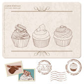 Set of cupcakes on old postcard, with stamps - for design and sc — Stock Vector