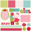 Scrapbook Baby Girl Set - design elements — Stock Vector
