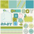 Scrapbook Boy Set - design elements — Stock Vector