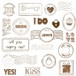 Set Of Wedding Postage Stamps — Stockvektor