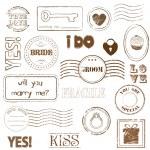 Set Of Wedding Postage Stamps — Stock Vector