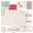 Royalty-Free Stock Vektorfiler: Set Of Wedding Postage Stamps with retro Postcard