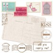 Royalty-Free Stock Vectorielle: Set Of Wedding Postage Stamps with retro Postcard
