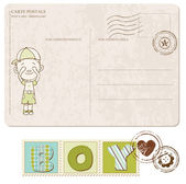 Baby Boy Arrival Postcard with set of stamps — Stock Vector