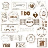 Conjunto de sellos postales de boda — Vector de stock