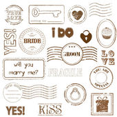 Set Of Wedding Postage Stamps — Stock Vector