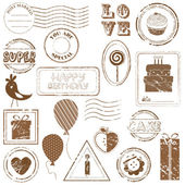 Birthday Vector Stamp Set — Vetorial Stock